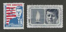 JOHN F KENNEDY JFK - 1960 ELECTION STAMP + 1964 MEMORIAL POSTAGE STAMP - MINT