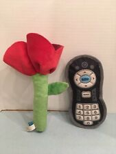 Bark Box Plush Squeaker Dog Toys Lot Of 2 Rose Flower + TV Remote Control