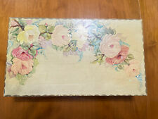 Antique French Country Painted TRINKET JEWELRY LETTER BOX Yellow Floral 14x8""