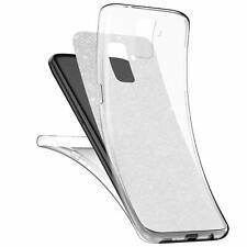 Handy Hülle Glitzer Full Cover Schutzhülle Silikon Case Transparent HandyTasche