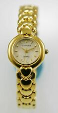 Glamour Womens Watch Stainless Steel Gold Water Resistant Battery White Quartz