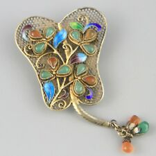 Vintage Chinese Export Gold Sterling Vermeil Brooch Jade Enamel Fan Carnelian