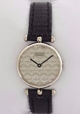 Van Cleef & Arpels VCA 18K Gold Mechanical Watch Black Leather & Logo Dial