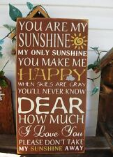 Primitive Sign You Are My Sunshine Subway Art Typography Painted Wooden Sign
