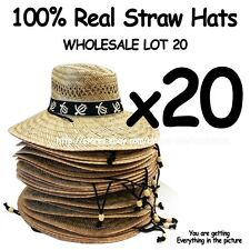 WHOLESALE LOT OF 20 Straw Hats with adjustable string ***TURTLE BAND***