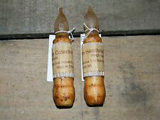 "Set of 2 Ivory/Cinnamon Taper TIMER Candle 4"" battery operated Grungy Primitive"