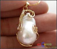 Huge 16mmx28mm baroque white keshi reborn pearl chain pendant
