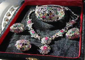 Fabulous 90+ ct Emerald ruby, sapphire necklace, earrings bracelet & ring SS set