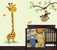 Deer Monkey Bird Branch Grass Baby Room Vinyl Wall Paper Decal Art Sticker T120