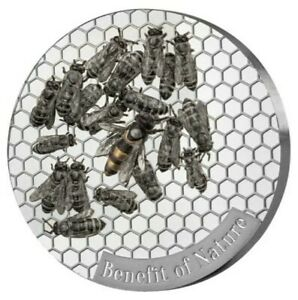 2019 1 Oz Silver 1000 Francs Cameroon HONEYBEE Benefit of Nature Coin