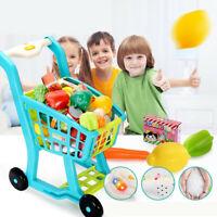 19.6'' Mini Supermarket Shopping Cart Pretend Play Playset Kids Toddler Toys USA