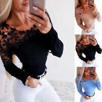 Ladies Blouse Lace Fit T-Shirt Tops Hollow Tee Long Sleeve Womens Slim Casual