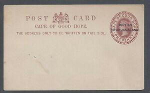 BRITISH BECHUANALAND QV POSTAL STATIONERY  POST CARD ONE PENNY CHESTNUT UNUSED