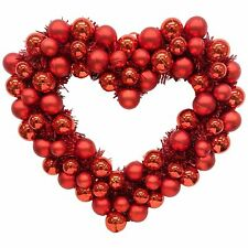 Red Heart Ornament and Tinsel Wreath, Valentine's Day Decoration, 16� Wide