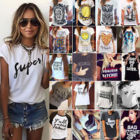 Women Summer Casual T Shirt Short Sleeve Printed Blouse Lady Daily Top Plus Size