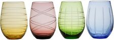 Fifth Avenue Crystal Medallion Colors Set of 4 Stemless Glassware Wine Glasses