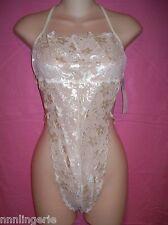 Fantasy Lingerie Elegant Ivory Bridal Floral Lace Backless Teddy, One Size