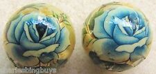 2 Japanese Tensha Beads BLUE ROSE on GOLD ROUND Bead 16mm