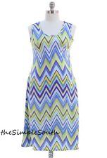 NWT JON & ANNA Blue/Green Chevron Stripe Sleeveless Long Tank Dress Summer 1X