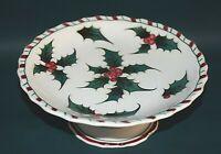 VINTAGE Lefton Holly Berry Christmas Candy Cane Rim Pedestal Cake Plate #036