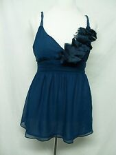 Miss Me M M Couture Blouse Size Large Teal Blue Silk Beaded Straps NWT