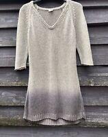 POETRY Graduated Grey Pure Linen Knitted Long Jumper/Tunic Dress UK12 EU40