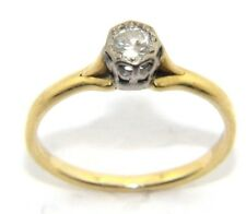 Ladies/womens, 18ct gold and platinum ring with a solitaire diamond, UK Size M