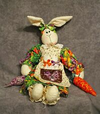 19� Crafty farm rabbit, cloth doll décor with vegetables - Estate Sale Lot 414