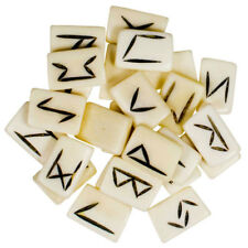Bone Rune Set NEW Norse Runes 25 pc Elder Futhark White Tiles with Pouch Bag
