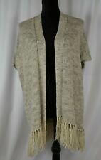 Joie Open Front Knit Cardigan Size XS Linen Blend Fringed Flowing Short Sleeve