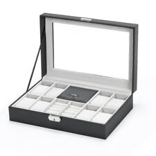 Box with Lock and 3 Mixed Grids for Watche, Ring, Bracelet, Necklace, Brooches