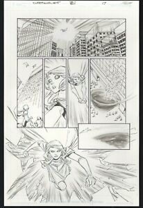 Supergirl #5 pg 17 Original Comic Art Action Panels Brian Ching SIGNED