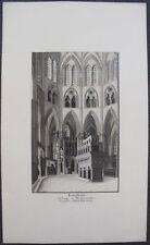 LONDRES WESTMINSTER Chapelle Grande & Fine aquarelle originale 1898 E. GEOFFROY