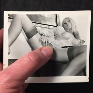 Vtg 70's Pinup Girl Snapshot Risque Nylons Nude Spread Eagle Color Photo lot D