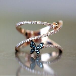 925 Silver Cute Butterfly Dazzling Diamond Ring Bride Wedding Party Band Rings