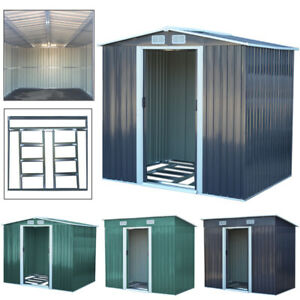 Metal Garden Shed Apex/Pent Roof Outdoor Storage House Tool Sheds with Free Base
