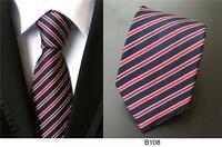 Blue Red White Tie Stripe Patterned Handmade 100% Silk Wedding Necktie