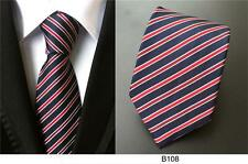 Blue, Red and White Stripe Patterned Handmade 100% Silk Wedding Tie