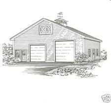 36 x 40 Two Bay FG / RV Garage Building Blueprint Plans