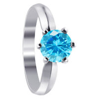 Sterling Silver Blue CZ Cubic Zirconia Solitaire Round 3mm CZ Ring Size 5 - 9