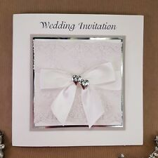 wedding invitation white silver heart and lace detailed   (sosha)