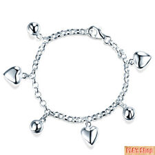 925 Sterling Silver Dangle Hearts Bracelet Baby Kids Gift Jewelry-Hot 2018