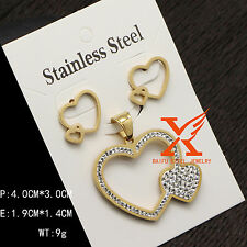 Fashion Stainless Steel Crystal Heart Jewelry Set Gifts for Brides