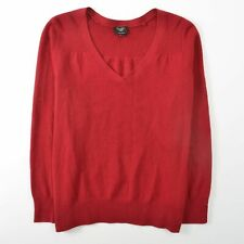 Talbots Pure Cashmere V Neck Sweater Red Womens XL Petite XLP