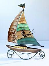 Sailboat Clock Decor Art Metal Tin