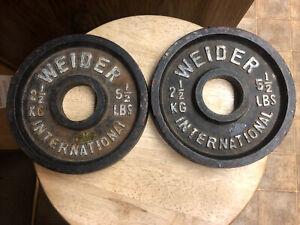 Vintage Weider KG international weight plates Deep old school grip pair