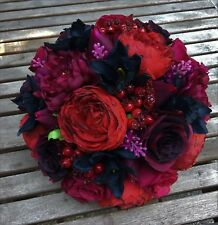 Artificial Silk Wine Red Peony/Rose/Black Orchid Flowers Wedding Bridal Bouquet
