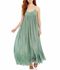 149523 NWD Intimately Free People Elaine Embroidered Green Long Maxi Dress M