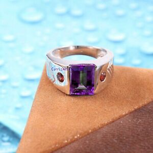 Natural Amethyst & Garnet gemstone with 925 Sterling Silver Ring