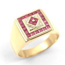 Art Deco Style Hand Made Ruby & Diamond Signet Ring 18ct Gold 9.5g Heavy Ring